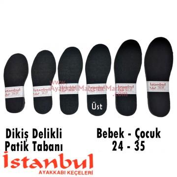 Dikiş Delikli Örme Patik Tabanı Bebe / Çocuk 12 Çift - Siyah