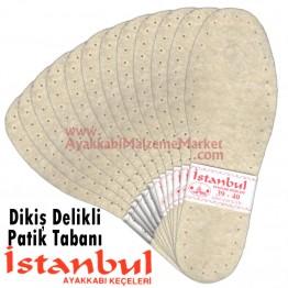 Dikiş Delikli Örme Patik Tabanı 12 Çift - Beyaz