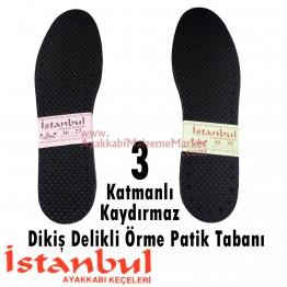 Dikiş Delikli Örme Patik Tabanı - Kaydırmaz (12 Çift / Paket)