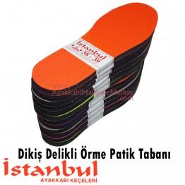 Dikiş Delikli Örme Patik Tabanı - 12 Çift - Renkli