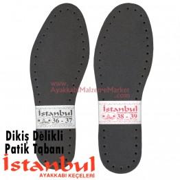 Dikiş Delikli Örme Patik Tabanı 12 Çift - Siyah