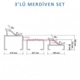 3'lü Merdiven Set - Şeffaf - 2 Takım